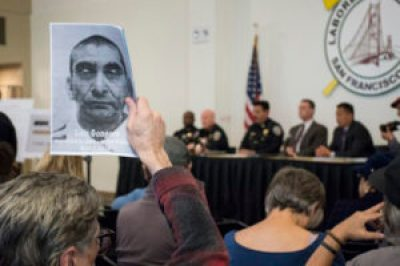 At the town hall meeting called by Chief Greg Suhr to discuss the killing of Luis Gongora, a Suhr tradition after every police murder, 200 angry people constantly called for Suhr's firing. The photo of Luis Gongora was provided by his family in Mexico. His friends say he stayed in touch by phone with his three grown children. – Photo: Lola M. Chavez, Mission Local