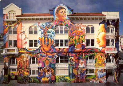 "Edythe Boone and six other women artists painted this magnificent mural, called the ""Maestra Peace Mural,"" in 1994. It continues around the building that stands on a prominent corner in San Francisco and is, deservedly, world famous."