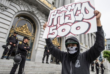The Frisco 500 returned to City Hall Monday morning, May 9, to rally outside most of the day. – Photo: Jessica Christian, SF Examiner