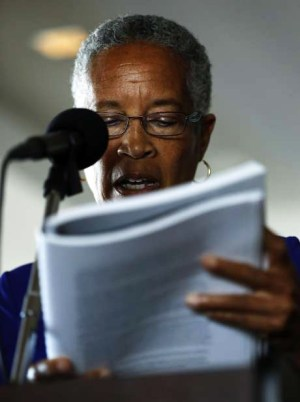 Retired Judge LaDoris Cordell, a member of the three-judge Blue Ribbon Panel, reads from the report on discipline, transparency and other SFPD issues. – Photo: Connor Radnovich, SF Chronicle