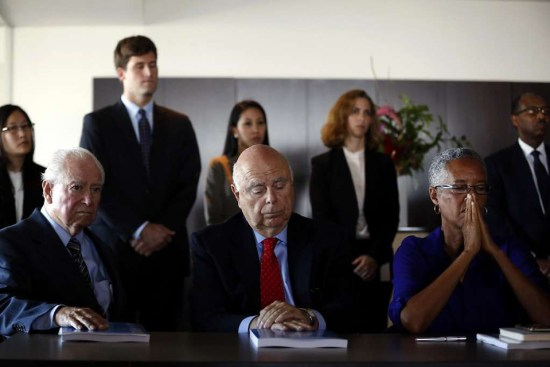 The Blue Ribbon Panel of three prominent retired judges – Judge Cruz Reynoso, Judge Dickran M. Tevrizian and Judge LaDoris H. Cordell – announce their findings on SFPD oversight. – Photo: Connor Radnovich, SF Chronicle