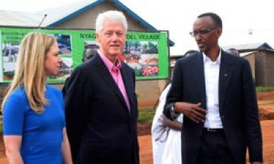 Chelsea and Bill Clinton and Paul Kagame tour Rwandan health clinics in July 2012. – Photo: Cyril Ndegeya, AP