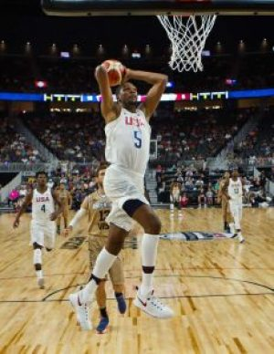 Kevin Durant and the U.S. team beat Argentina in a pre-Olympics exhibition game in Las Vegas Friday. – Photo: L.E. Baskow, AP