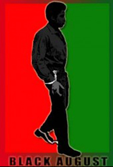 'Black August' George Jackson against red-green background, web