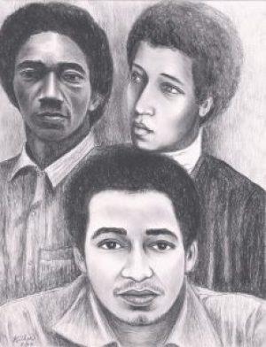 Ruchell Magee, George and Jonathan Jackson – Art: Kiilu Nyasha