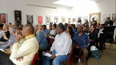 Oakland business owners packed The Oakstop on Aug. 4 – and most of them were Black. They're hoping to do business with Uber, which will soon be headquartered in Oakland. – Photo: The Registry