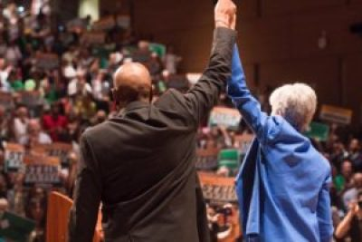 Jill Stein and Ajamu Baraka accept the Green Party nomination at the University of Houston, Texas, in August 2016.