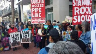 Bay Area solidarity with the heroic Indigenous resistance at Standing Rock in North Dakota was demonstrated at a rally Aug. 24. – Photo: Poor News Network