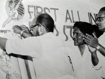 Runoko Rashidi inaugurates the first All-India Dalit Writers' Conference in Hyderabad, India, in October 1987.