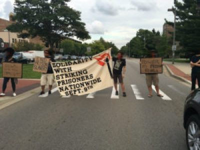 In Lansing, Michigan, protesters know that it doesn't take a crowd to shut down traffic.