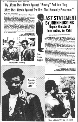In its Feb. 17, 1969, edition, The Black Panther newspaper pays tribute to assassinated leaders Bunchy Carter and John Huggins. Click to enlarge.