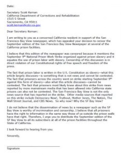 Click to enlarge the letter and then print it, date it, sign it and mail it to Secretary Kernan. This sample letter was written by long, strong Bay View supporter Chandra Hauptman. Please join us in thanking her; her email is chcats@lmi.net.