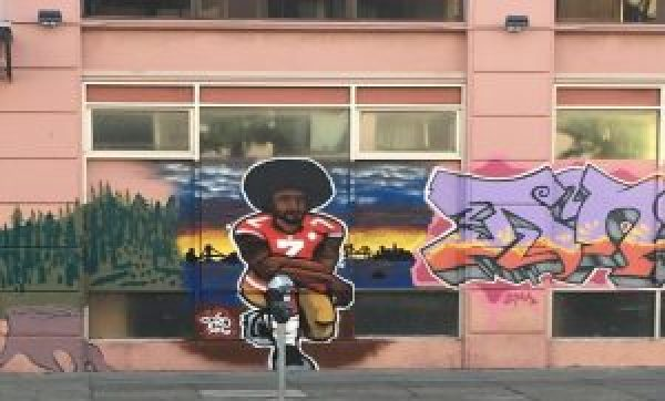 Another recent mural honoring Kaepernick is at 15th and Mission in the Mission District. It was painted by an artist named Dino and reportedly commissioned by the new owner of the building, Amy Kozlowski. – Photo: Meaghan M. Mitchell, Hoodline