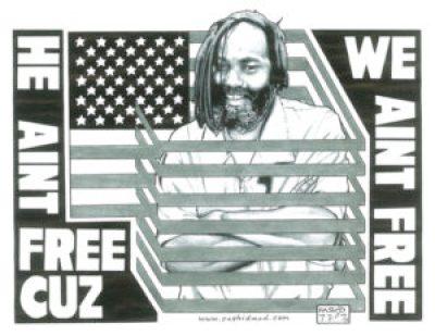 """He ain't free cuz we ain't free"" – Art: Kevin ""Rashid"" Johnson, 1859887, Clements Unit, 9601 Spur 591, Amarillo TX 79107"