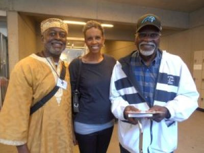 "Between workshops, Jahahara Alkebulan-Maat, Fredrika Newton and Elbert ""Big Man"" Howard got better acquainted. – Photo: Jahahara Alkebulan-Maat"
