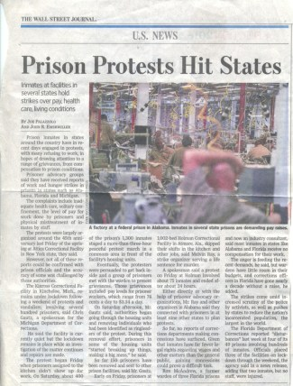 "This clipping from The Wall Street Journal was mailed to the Bay View by Keith ""Malik"" Washington. The paper it was torn out of was delivered to a subscriber in his prison, Eastham Unit, in Texas. The Bay View has been banned in Texas for two months for reporting on the prison strikes. The Wall Street Journal is reporting on the prison strikes and is not censored."