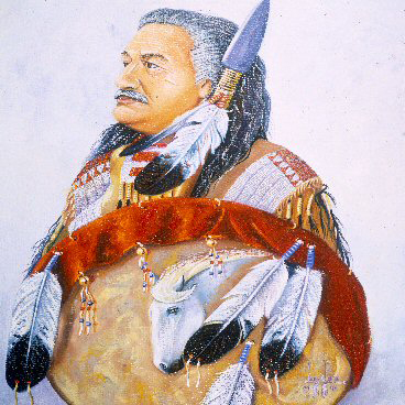 "Leonard Peltier is not only renowned as a political leader, writer and poet, but a painter as well. Here, he portrays himself as the traditional warrior he is. He writes, ""Through my paints, I can be with my People – in touch with my culture, tradition and spirit. I can watch little children in regalia, dancing and smiling; see my elders in prayer; behold the intense glow in a warrior's eye."""