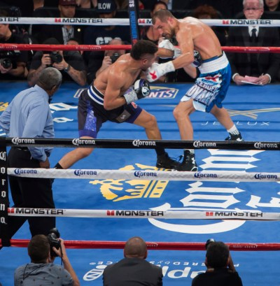 Utilizing a masterful display of body shots and punishing jabs, Andre SOG Ward defeated Sergey The Krusher Kovalev. – Photo: Malaika Kambon