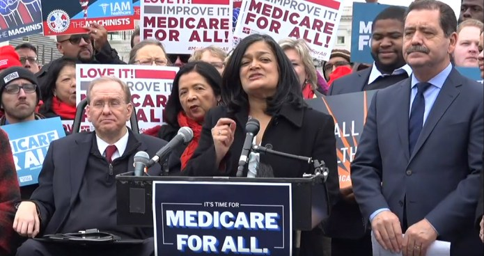 Rep.-Pramila-Jayapal-D-Wash.-100-co-sponsors-introduce-Medicare-for-All-Act-of-2019-HR-1384-022719-by-National-Nurses-United, Democrats, National News & Views