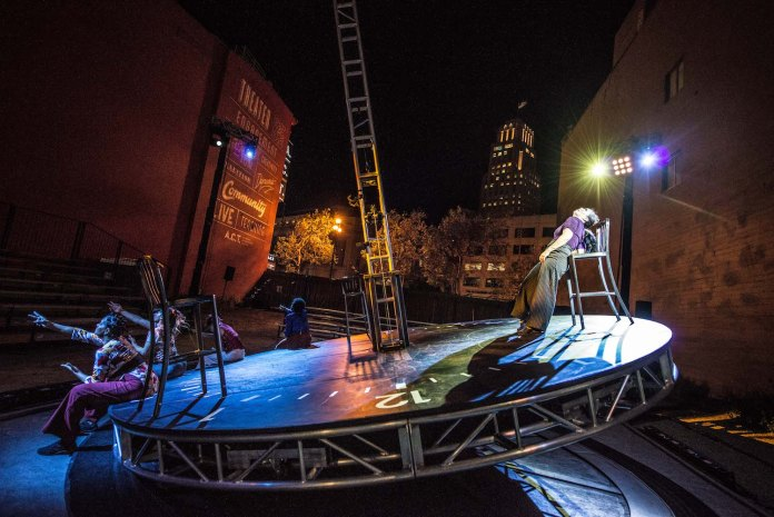 The-Wait-Room'-outdoor-stage-clock-tilting-shifting-as-dancers-move-0519-by-Austin-Forbord, Wanda's Picks for June 2019, Culture Currents
