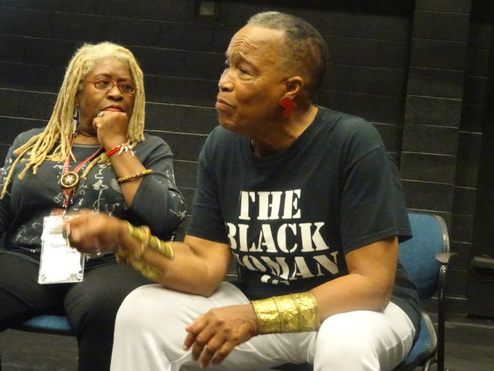 Dorothy-Randall-Gray-listens-to-Rhodessa-Jones-of-the-Medea-Project-in-Master-Artist-class-'Creative-Survival-Creative-Performance'-at-Arts-in-Corrections-conf-0619-by-Wanda, Wanda's Picks for July 2019, Culture Currents