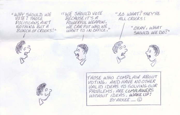 Why-should-we-vote-art-by-Arkee-Chaney, A modest proposal for the abolition of slavery in America in the 21st century, Behind Enemy Lines