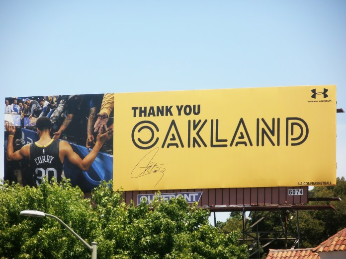 Thank-you-Oakland-Warriors-billboard-w-pic-of-Steph-Curry-0719-by-Jahahara, Asante sana, Ayesha and Stephen!, Culture Currents