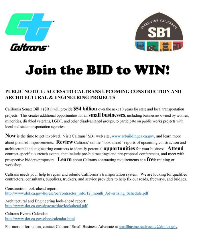 Caltrans-1219, Disadvantaged contractors invited to bid on Caltrans SB1 projects, Invitations to Bid