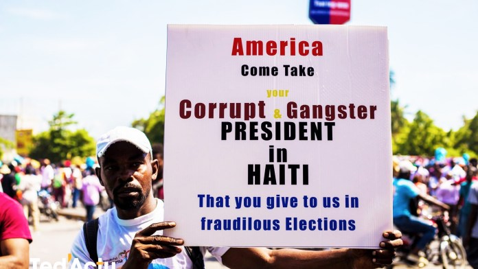 Haitian-protesters-sign-America-come-take-your-corrupt-gangster-president-in-Haiti-110819-by-Ted-Actu, No repeat of US military occupation of Haiti, World News & Views