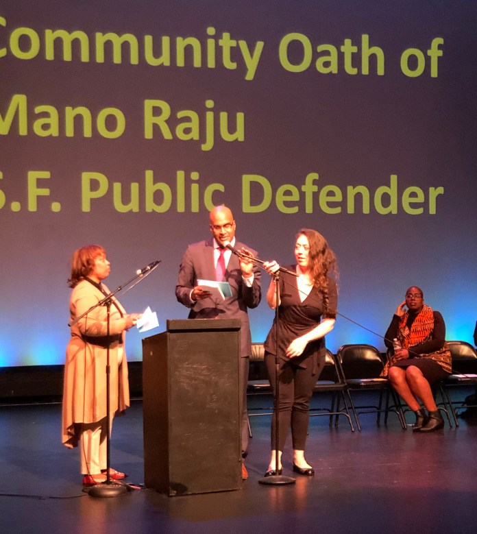 SF-Public-Defender-Mano-Rajus-Community-Oath-of-Office-Black-History-Month-celebration-Gwen-Woods-swears-in-Raju-022720-3-by-Kevin-Epps-1, Mother of Mario Woods administers oath to San Francisco Public Defender Mano Raju at packed community inauguration, Local News & Views