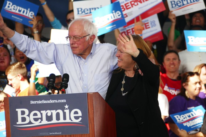 Mary-Jane-OMeara-Sanders-and-Bernie-Sanders-at-campaign-rally-in-Richmond-Calif-021720-by-Jahahara, All aboard … for Reparations!, Local News & Views
