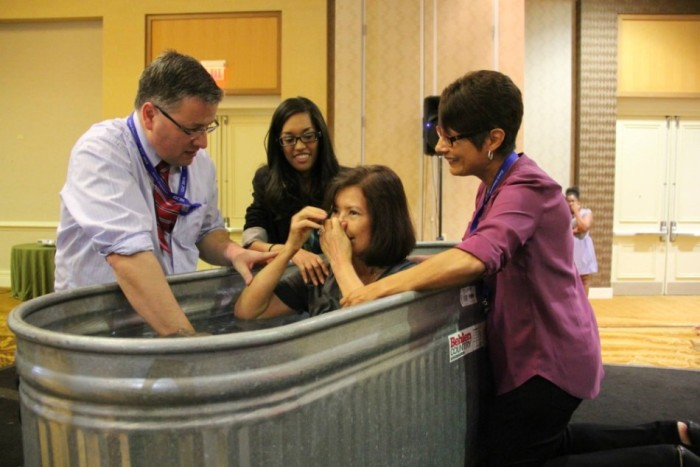April's mom was baptized at the 2014 Global Leadership Conference!