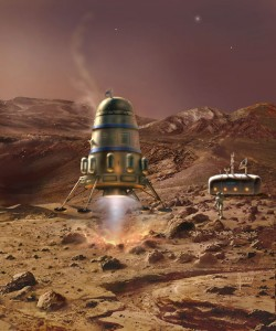 A landing on Mars.
