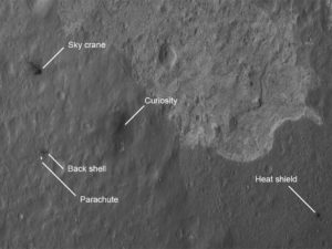 The Mars landing from space.