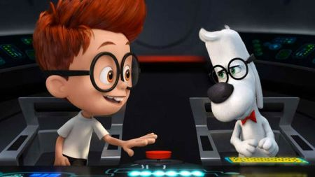 """What a dog day afternoon for beagle brainiac Mr. Peabody and his tyke tag-a-long Sherman in 20th Century Fox's """"Mr. Peabody & Sherman."""""""