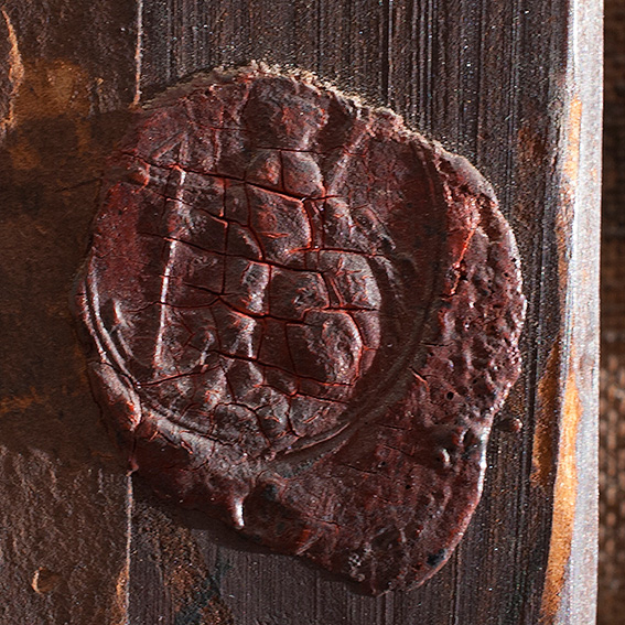 Wax seal on the stretcher.