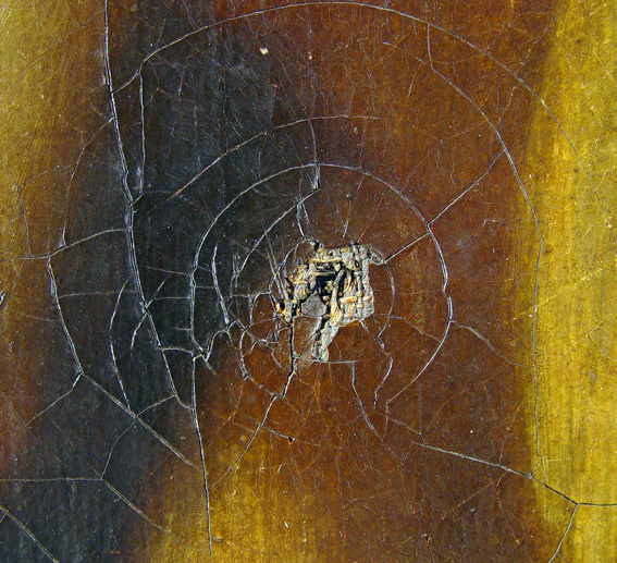Spiral cracks are usually developed as a result of an impact.