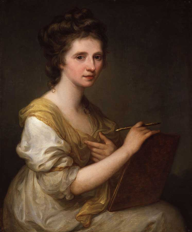 Angelica Kauffmann Self portrait. Note the double ended brush