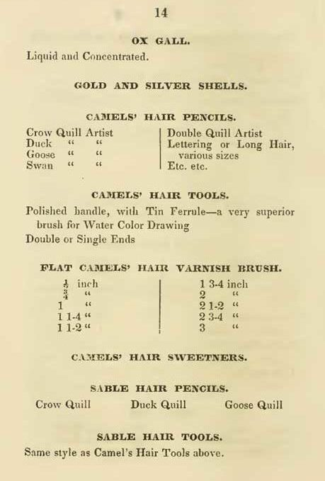 1845 Catalog page offering double end brushes.
