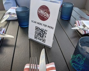union kitchen table - scan to get menu