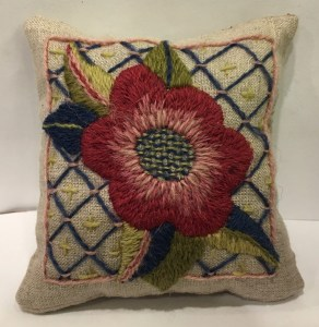 May Morris Inspired Pincushion, by Genevieve Cottraux, CA