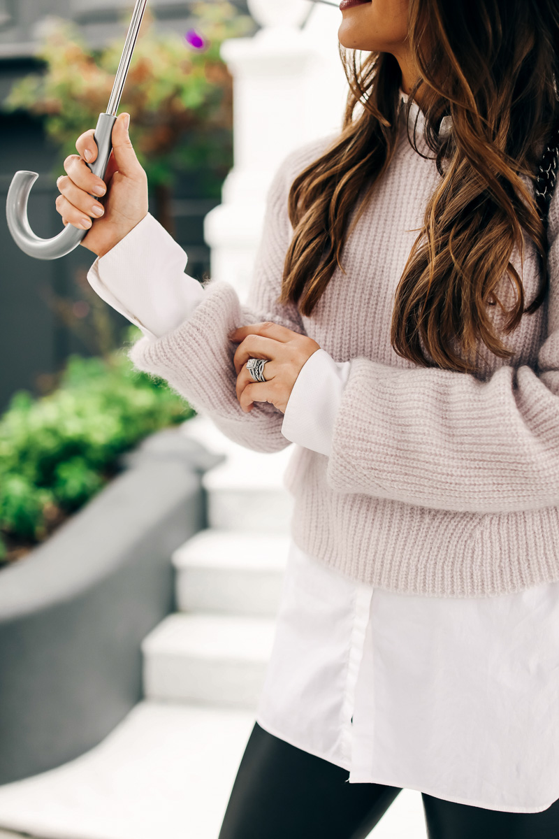 sweater over collared shirt