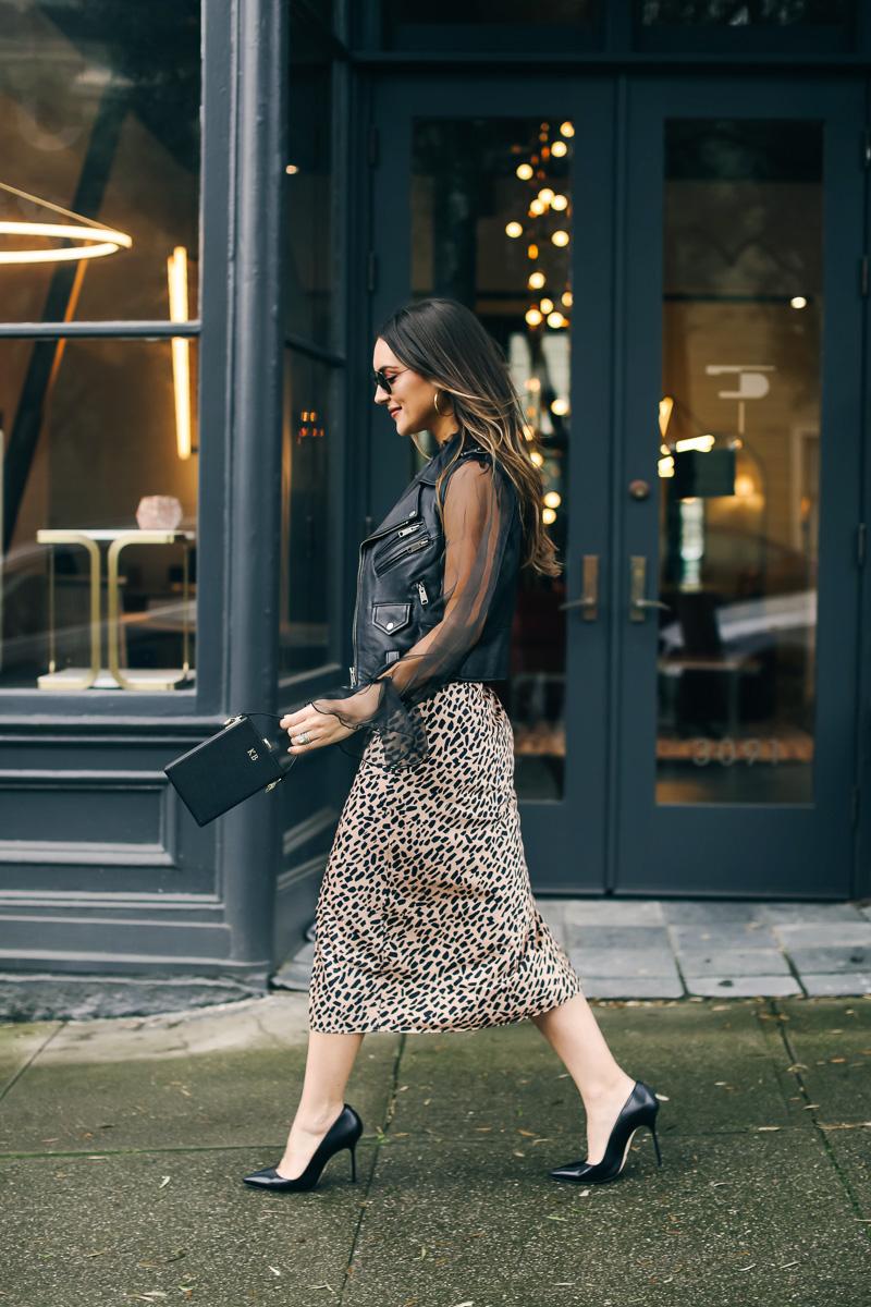 leopard silk skirt