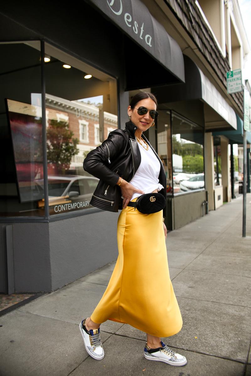 gold slip skirt