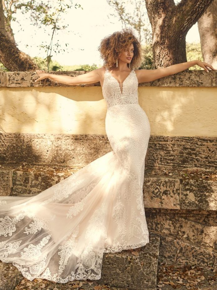 Bride Wearing Mermaid Wedding Dress for Hourglass Figure Called January by Maggie Sottero