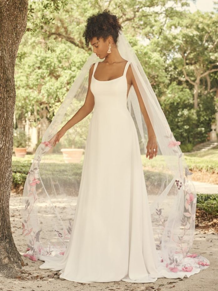 Bride Wearing Square Neck Crepe Wedding Gown for Petite Brides Called Sondra by Maggie Sottero