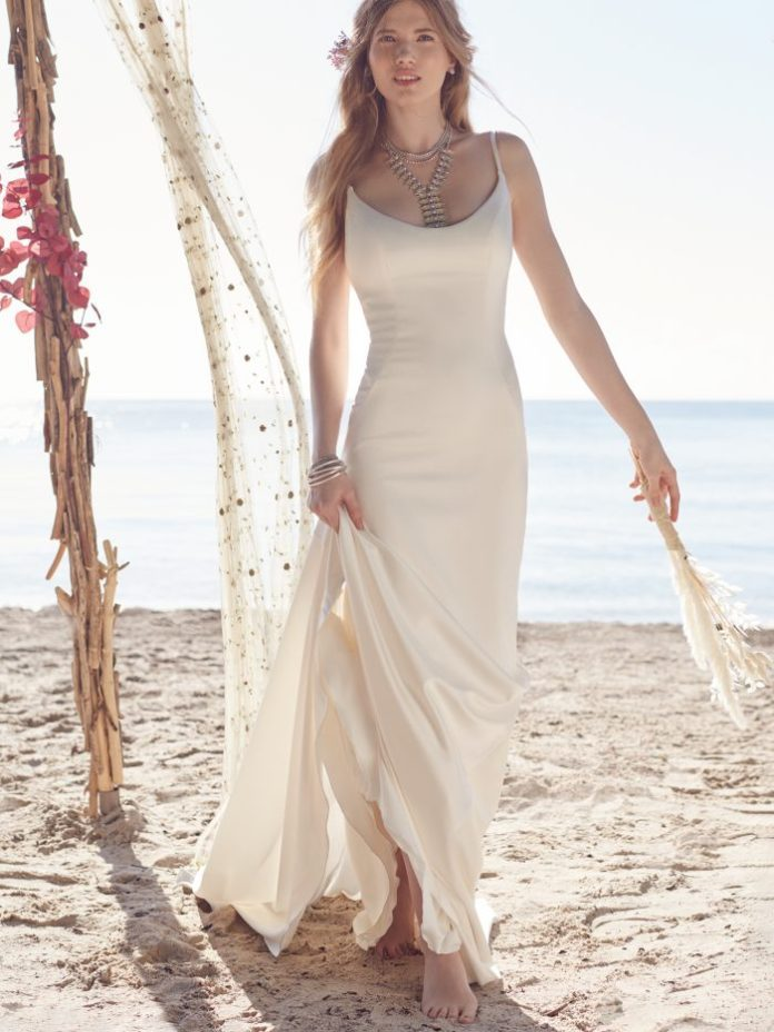 Bride Wears Beach Wedding Dress Called Augusta by Rebecca Ingram