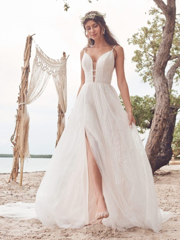 Bride Wearing Casual A-Line Wedding Dress Called Hesper by Rebecca Ingram
