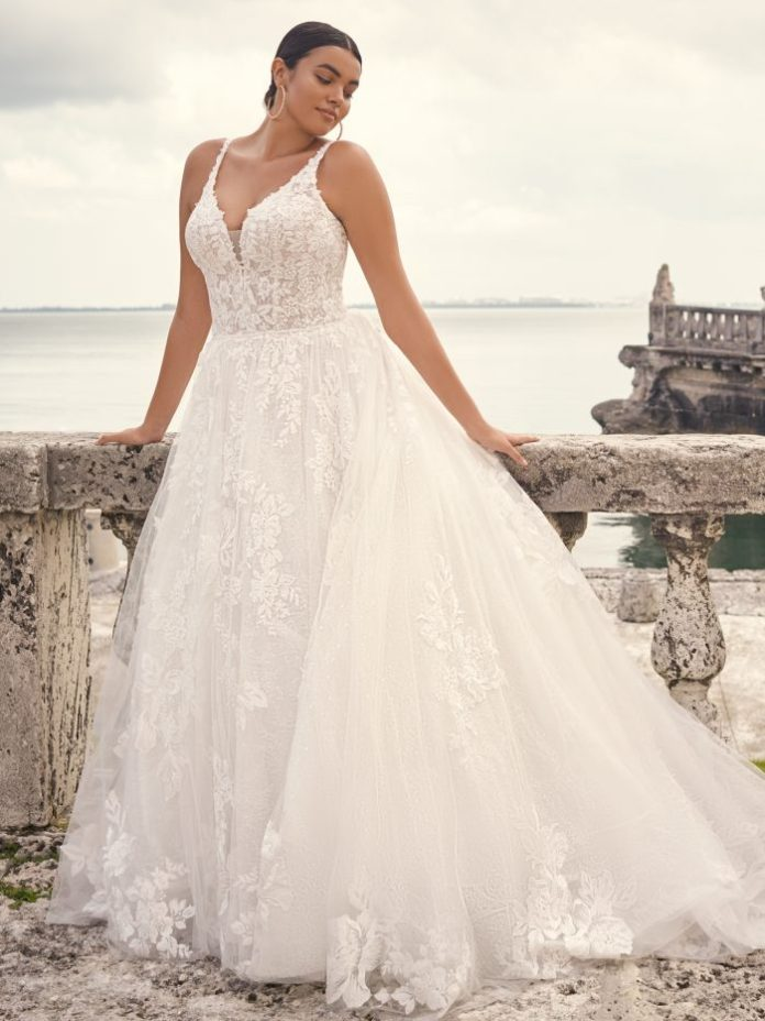 Bride Wearing Ball Gown Wedding Dress for Hourglass Body Types Called Valona by Sottero and Midgley