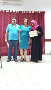 Ajeek-Nisped graduate receives diploma from Dr. Nava Sonnenschein & Harb Amara